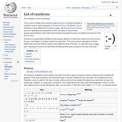 List of emoticons - Wikipedia, the free encyclopedia - StumbleUpon