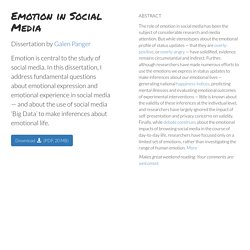 Emotion in Social Media - Doctoral Dissertation by Galen Panger