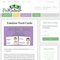 Emotion Word Cards for Pre-K and Kindergarten Social Studies