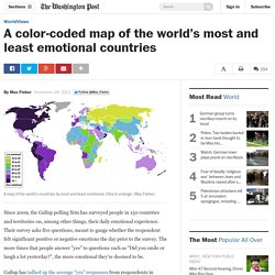 A color-coded map of the world's most and least emotional countries