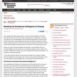 Building the Emotional Intelligence of Groups
