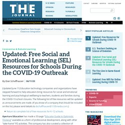 Updated: Free Social and Emotional Learning (SEL) Resources for Schools During the COVID-19 Outbreak