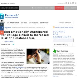 Being Emotionally Unprepared for College Linked to Increased Risk of Substance Use