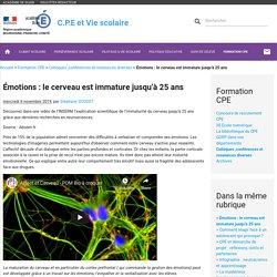Émotions : le cerveau est immature jusqu'à 25 ans - C.P.E et Vie scolaire