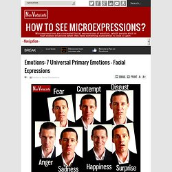 Emotions: 7 Universal Primary Emotions - Facial Expressions