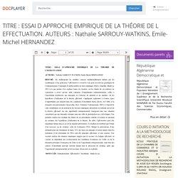 ⭐TITRE : ESSAI D APPROCHE EMPIRIQUE DE LA THÉORIE DE L EFFECTUATION. AUTEURS : Nathalie SARROUY-WATKINS, Emile-Michel HERNANDEZ