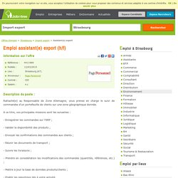 Assistant(e) export CDI - Strasbourg (67)
