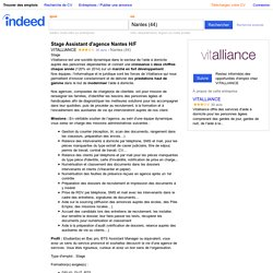 Emploi Stage Assistant d'agence Nantes H/F - VITALLIANCE - Nantes (44)