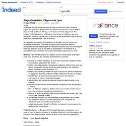 Emploi Stage d'Assistant d'Agence de Lyon - VITALLIANCE - Lyon (69)