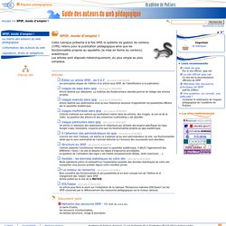SPIP, mode d'emploi ! - Guide des auteurs du web pédagogique