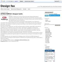 OFFRE D'EMPLOI : Designer textile - Design fax