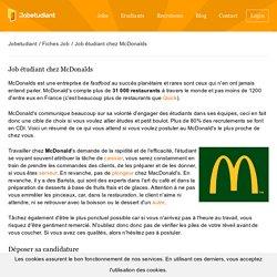 Fiche Emploi Job étudiant chez McDonalds