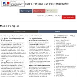 Mode d'emploi - L'aide française aux pays prioritaires