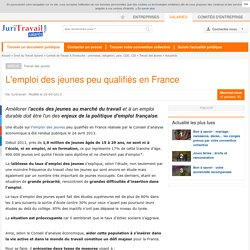 L'emploi des jeunes peu qualifiés en France