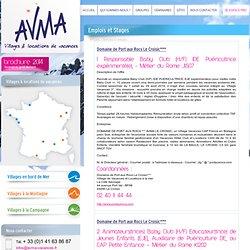 Emplois et stages proposé par les villages vacances de l'AVMA