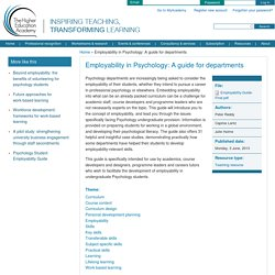 Employability in Psychology: A guide for departments