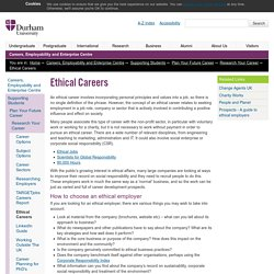 Careers, Employability and Enterprise Centre : Ethical Careers