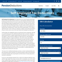 Self Employed Tax Deductions - Defined Benfit Plans