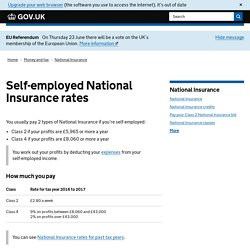 Self-employed National Insurance rates