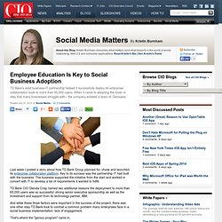 Employee Education Is Key to Social Business Adoption