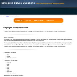 Free Employee Survey Questions Template