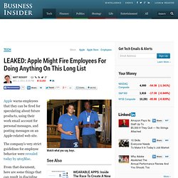 LEAKED: Apple Might Fire Employees For Doing Anything On This Long List