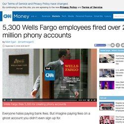 5,300 Wells Fargo employees fired over 2 million phony accounts - Sep. 8, 2016