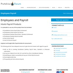 Employees Payroll - ProAdvisorForum