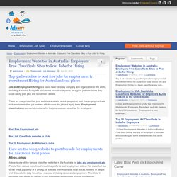 List of Best Employment websites to post Job Classifieds ads for Australia