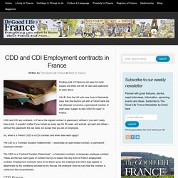 CDD and CDI Employment contracts in France