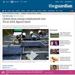 Global clean energy employment rose 5% in 2015, figures show