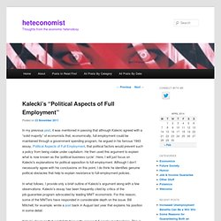"Kalecki's ""Political Aspects of Full Employment"""