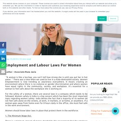 Employment and Labour Laws For Women
