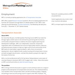 Employment - Metropolitan Planning Council