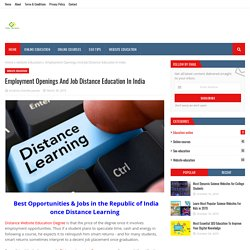 Employment Openings And Job Distance Education In India