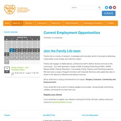 Current Employment Opportunities - Family Life