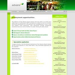 Advans™ : Employment opportunities