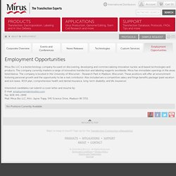 Employment Opportunities | Mirus Bio LLC