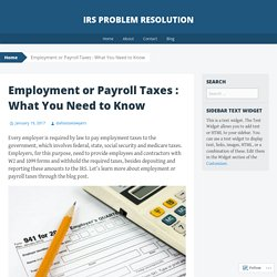 Employment or Payroll Taxes : What You Need to Know