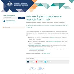 New employment programmes available from 1 July