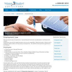 Specialist Solicitors and Employment Lawyers London