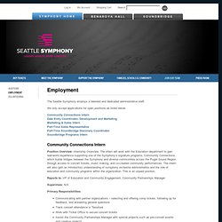 Employment | Seattle Symphony Orchestra