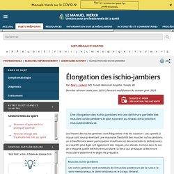 Élongation des ischio-jambiers - Blessures; empoisonnement - Édition professionnelle du Manuel MSD