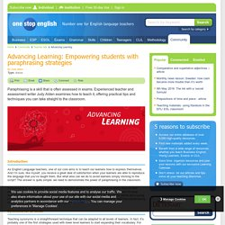 Advancing Learning: Empowering students with paraphrasing strategies