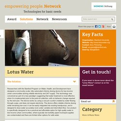 Lotus Water - empowering people. Network