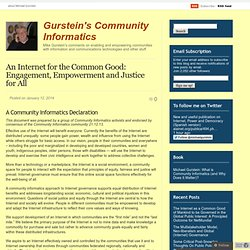 An Internet for the Common Good: Engagement, Empowerment and Justice for All