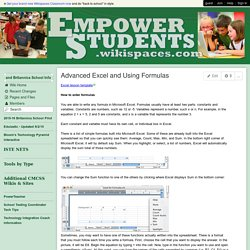 empowerstudents - Advanced Excel and Using Formulas