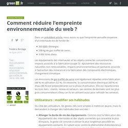 Comment réduire l'empreinte environnementale du web ? - Green IT