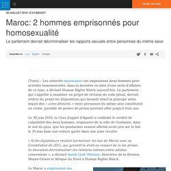 Maroc: 2 hommes emprisonnés pour homosexualité