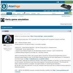 Early game emulation - Emulation - AtariAge Forums